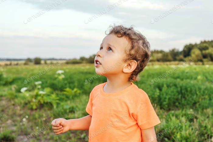 Little boy in a meadow, sunset light.