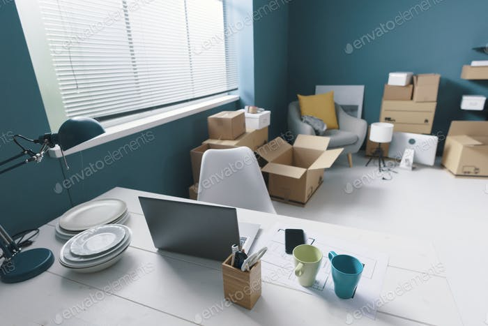 Home interior with cardboard boxes
