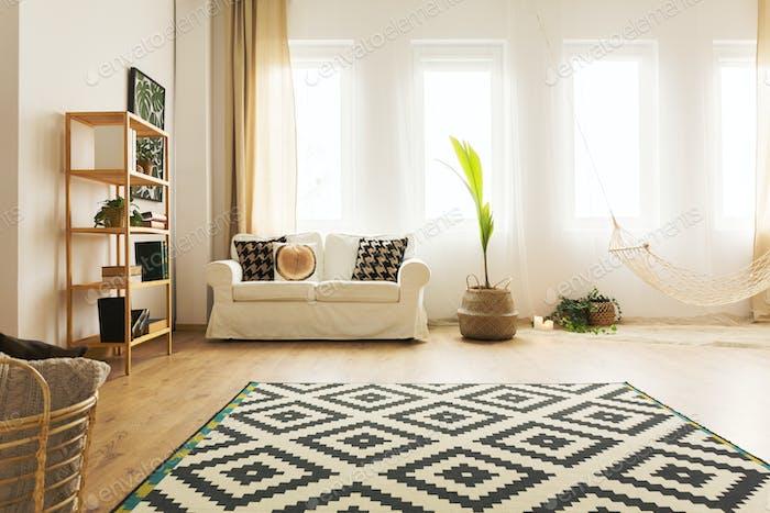 Modern home interior with hammock