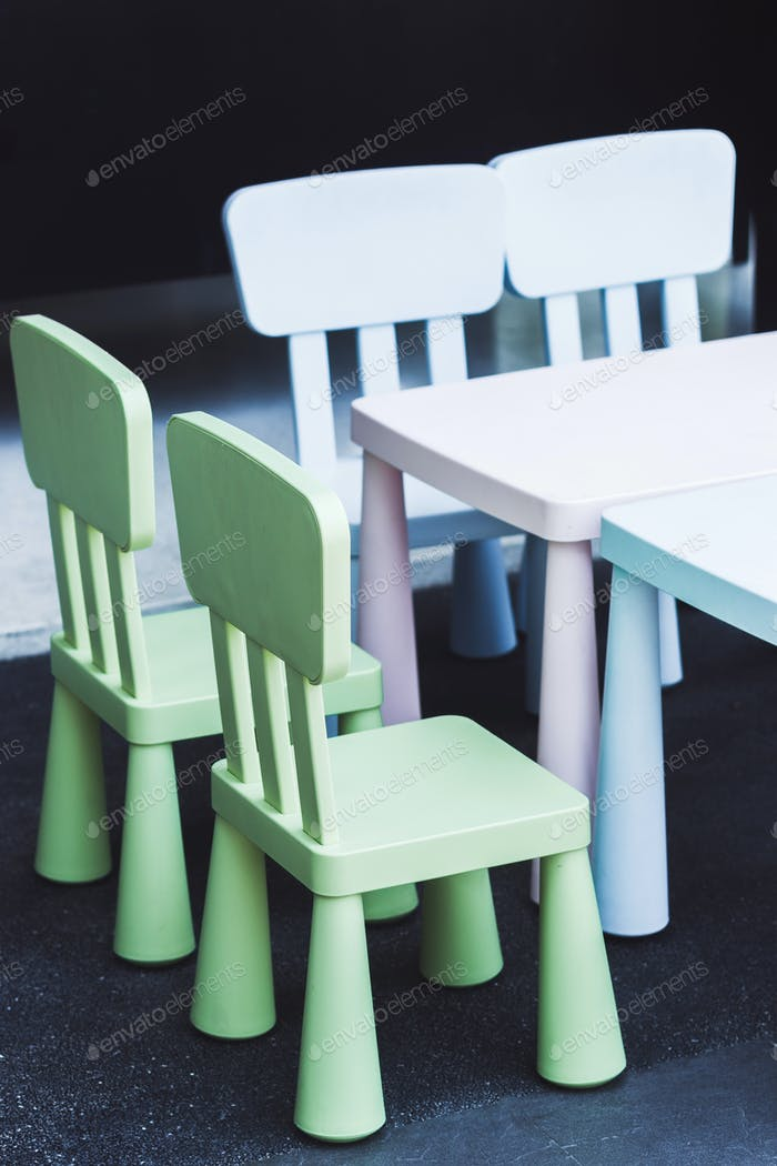 Set of multicolor children's furniture