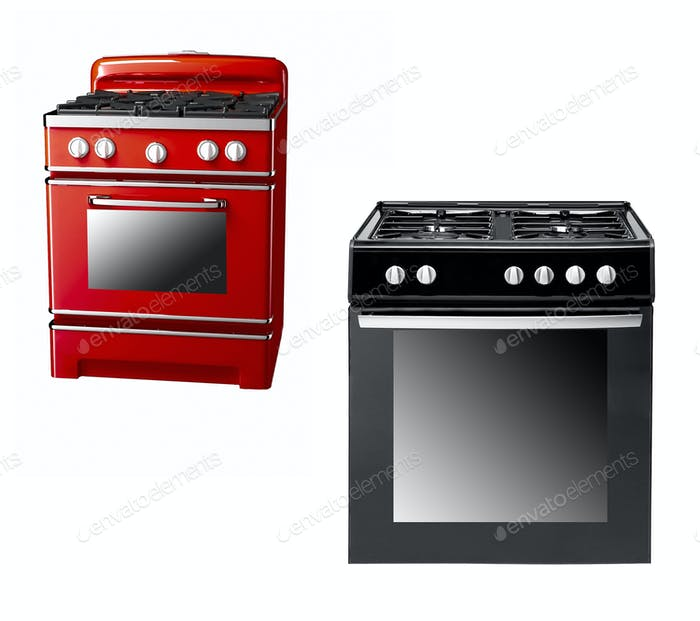 black and red gas cooker