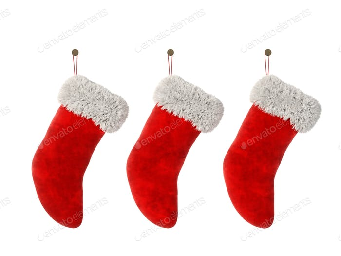 Three Christmas stocking isolated on white background 3D rendering
