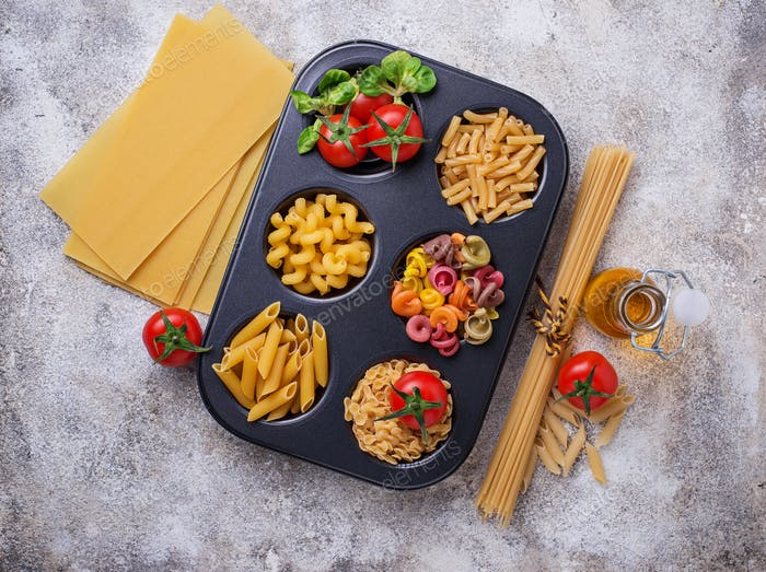 Various type of pasta and cherry tomato