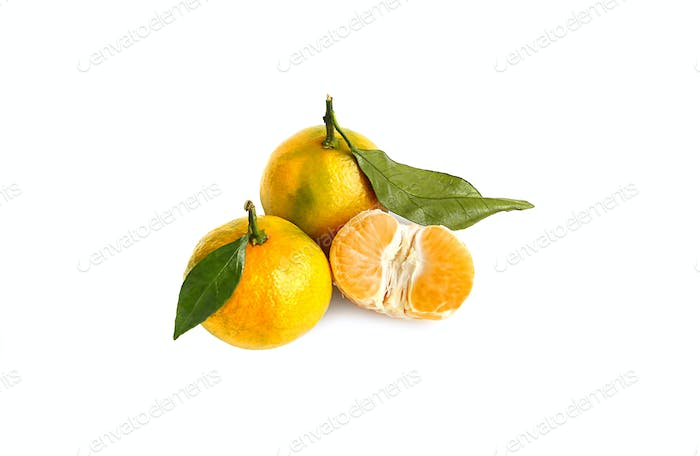 Tangerines on a white