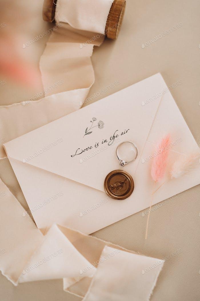 wedding rings with a wedding decor