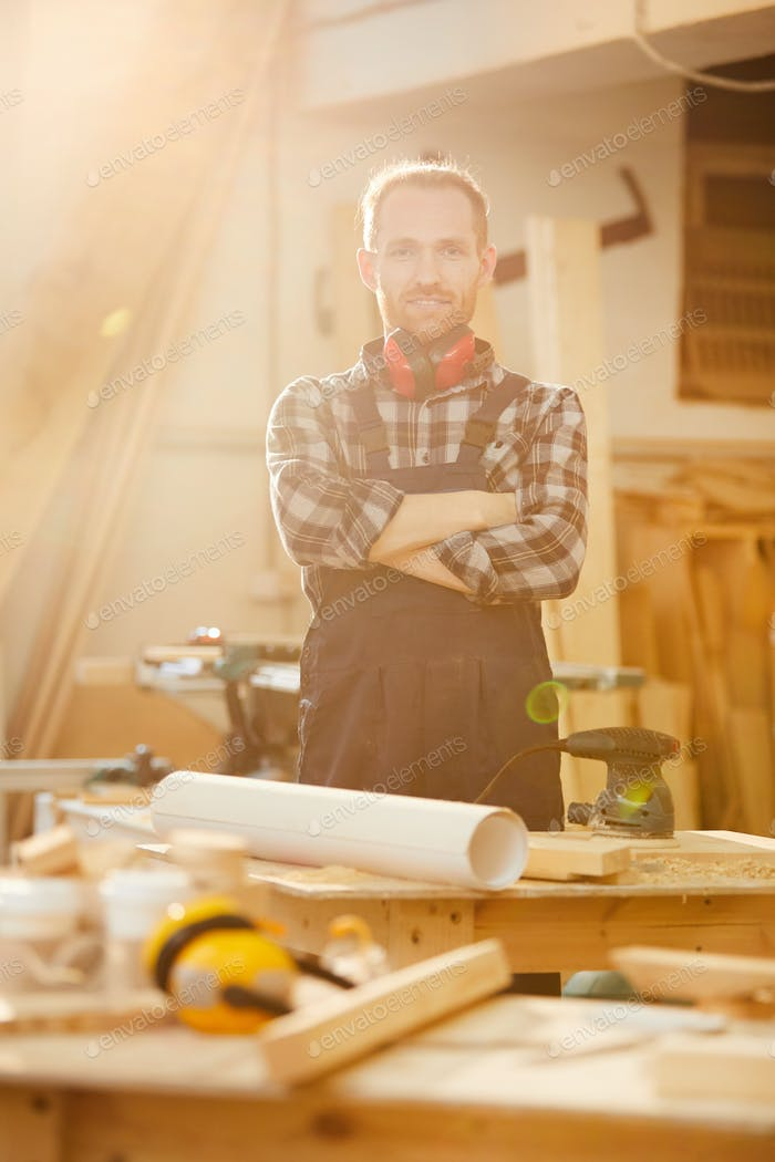 Modern Carpenter Posing in Sunlight