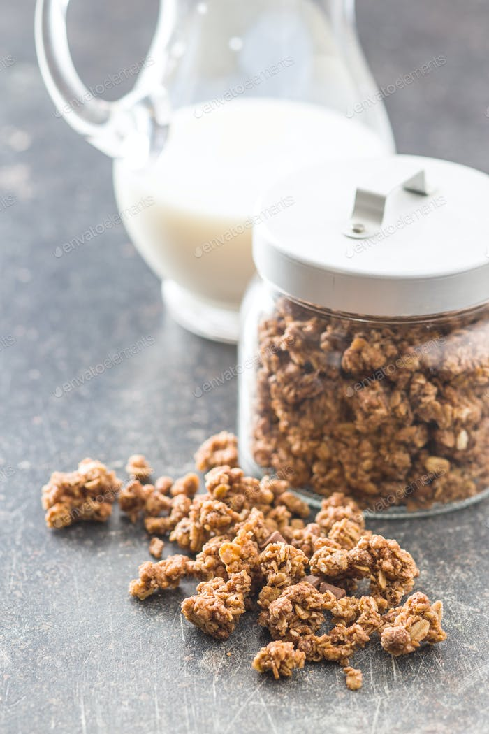 The chocolate granola breakfast cereals.
