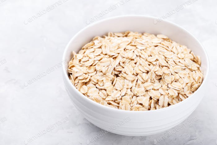 Bowl of old fashioned rolled oats