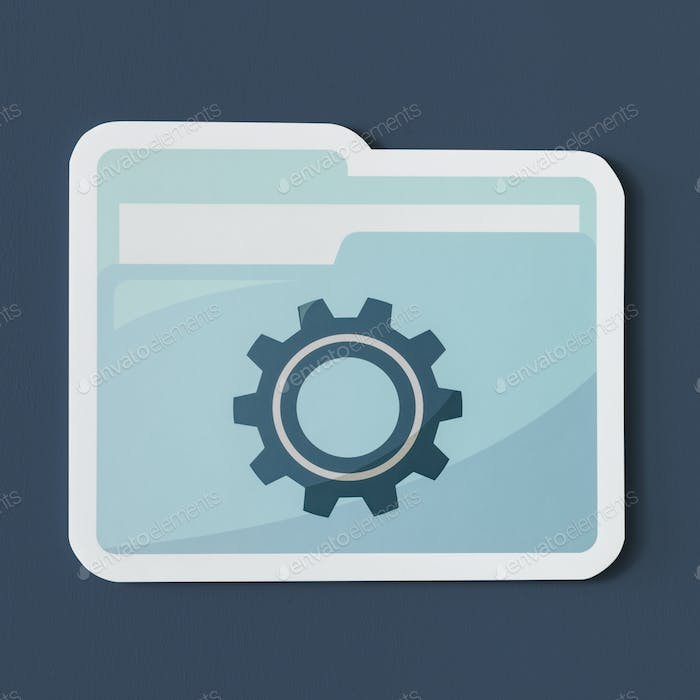 Paper cut out settings folder icon