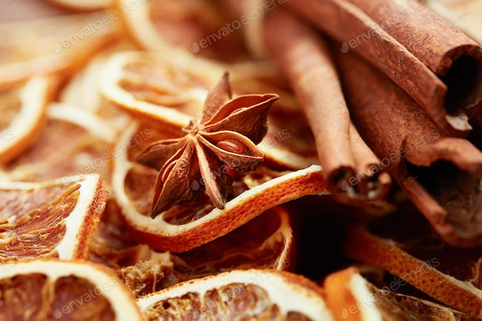 dry fruits and spaces for Christmas mulled