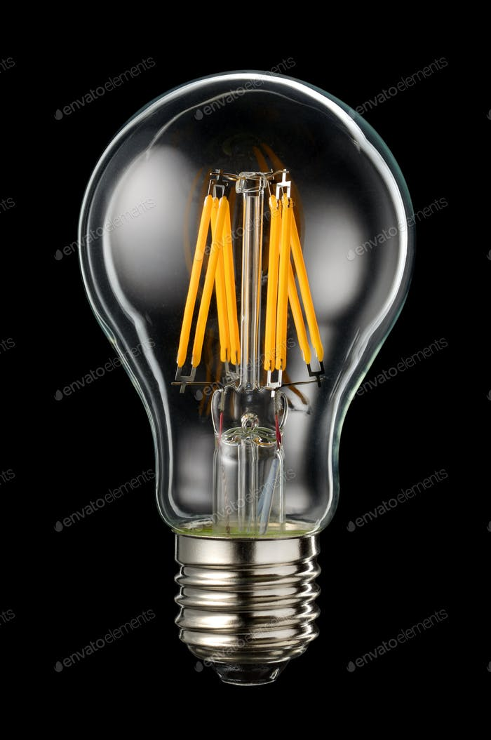LED filament on black