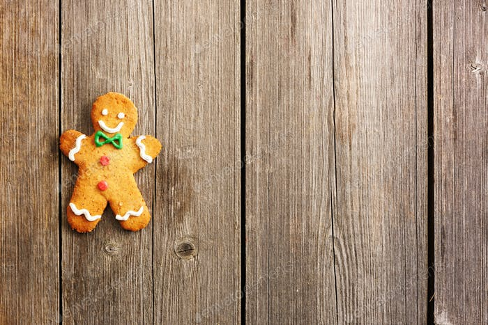 Christmas homemade gingerbread man cookie