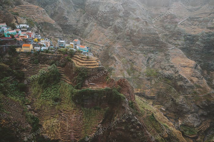 Epic Fontaihas village. Settlement in the rocky coast of Santo Antao island. Houses nestle into the