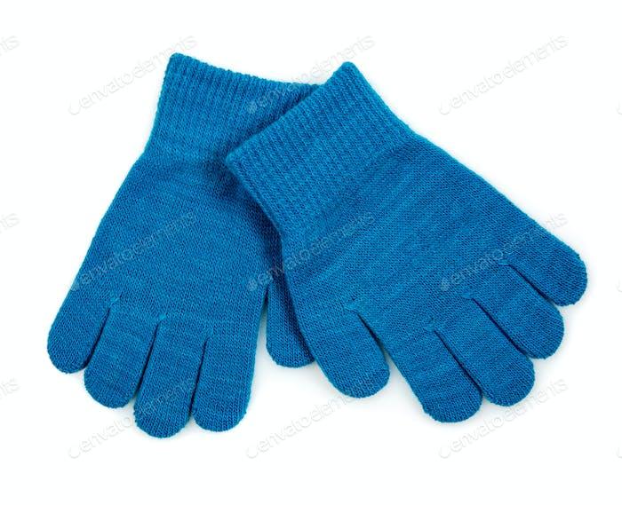 Blaue Strickhandschuhe isoliert