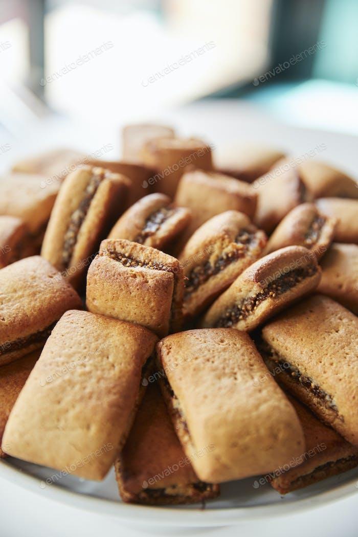 Display Of Freshly Baked Fig Cookies In Coffee Shop