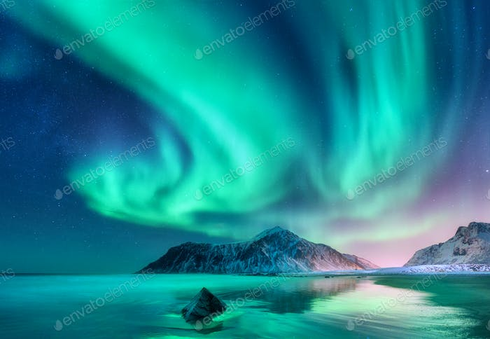 Aurora borealis. Northern lights in Lofoten islands, Norway