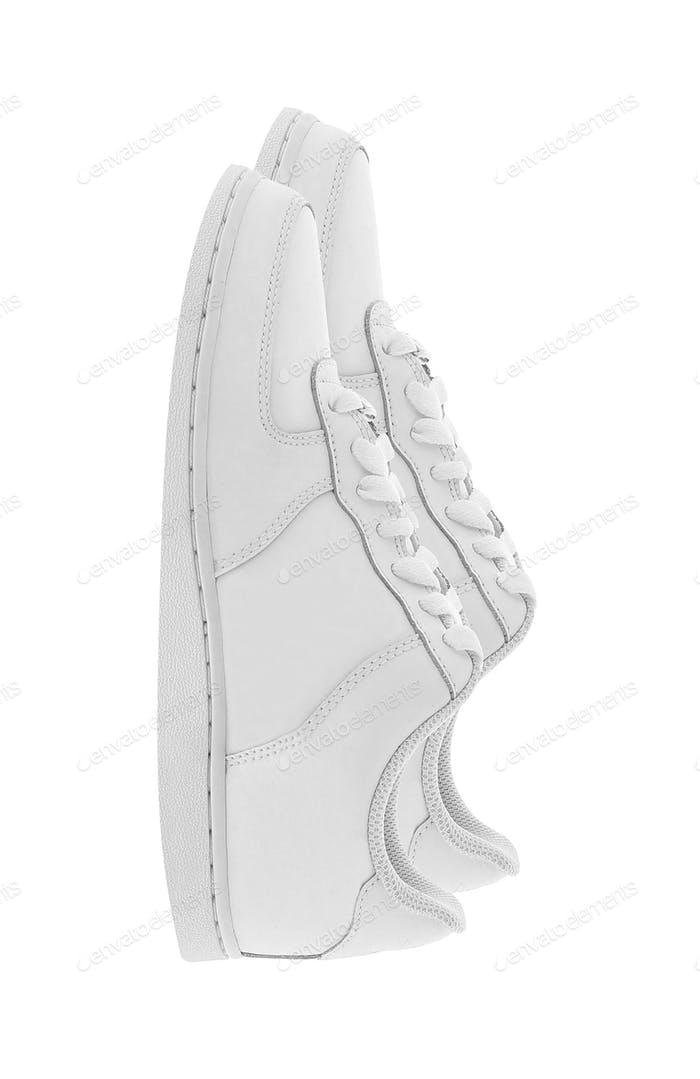 Pair of woman style sport shoes isolated