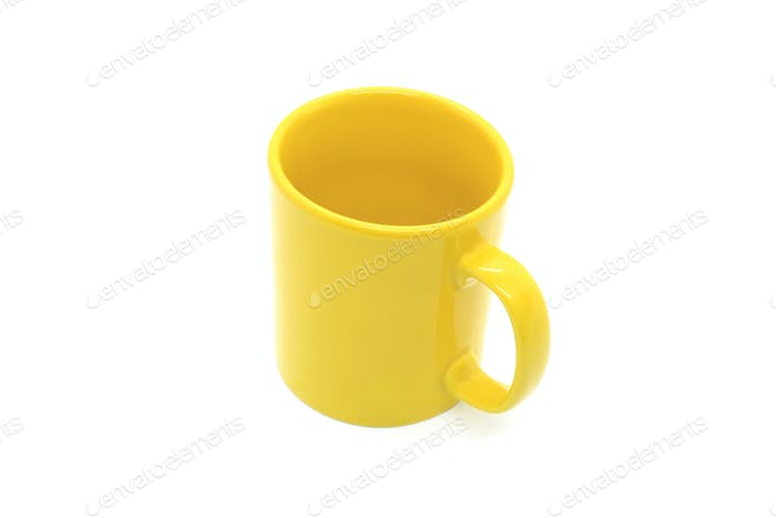 Bright yellow ceramic cup with handle