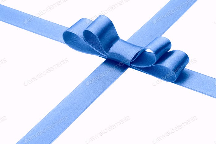Festive blue gift ribbon and bow isolated on white background