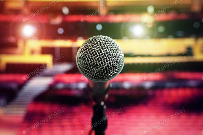 Microphone on stage in concert hall theater