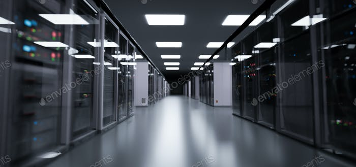 Server room, modern data center.