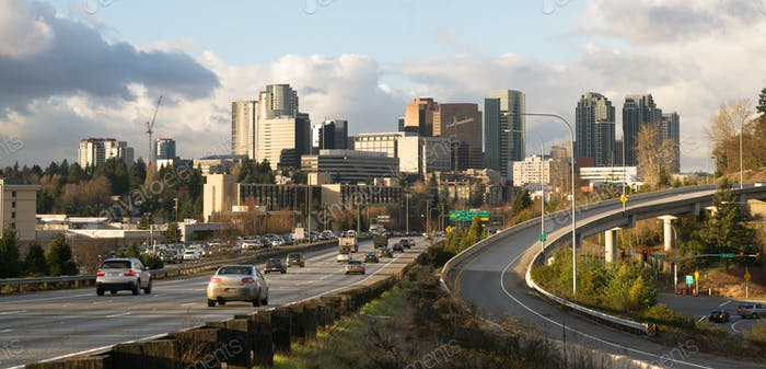 Rush Hour Highway Landscape Bellevue Washington Downtown City Sk