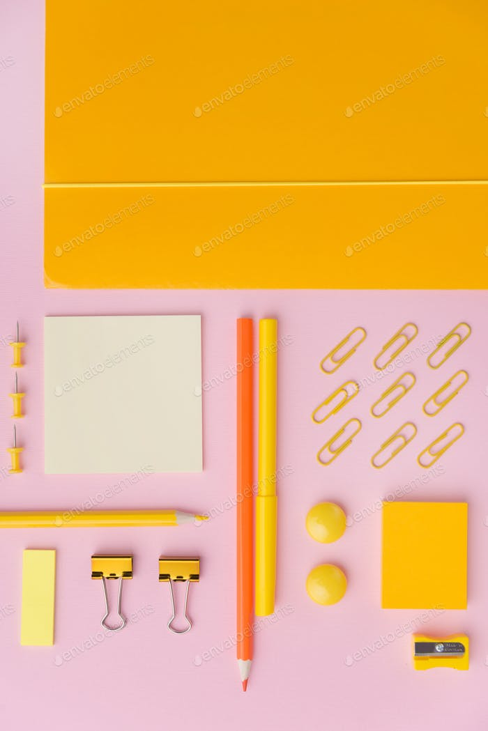 Top view picture of office supplies