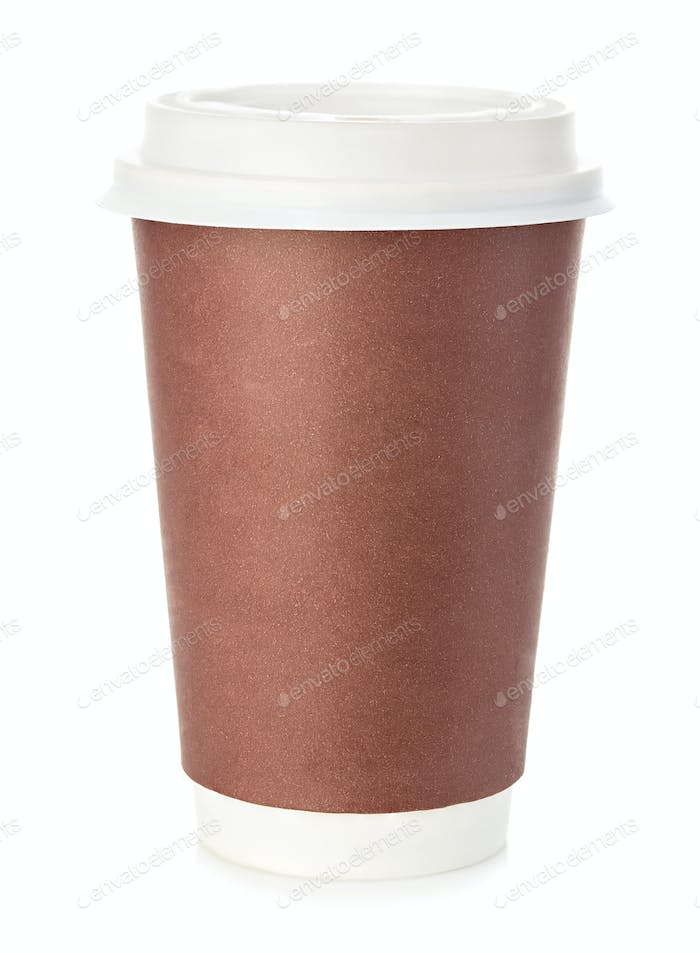 Big brown cup of coffee close-up isolated on a white background.