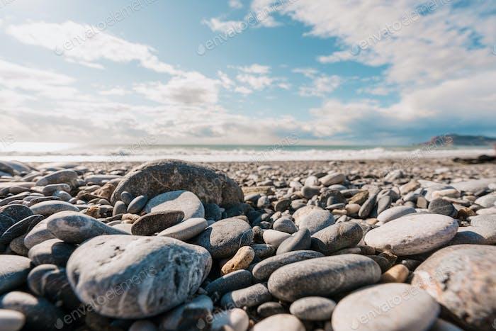 Touristic stone shore and sea in Turkey