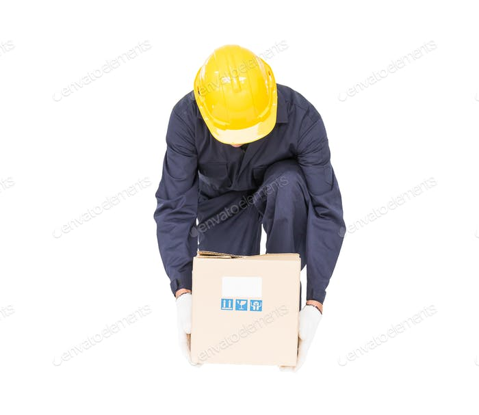 Man in uniform lifting the paper box-3