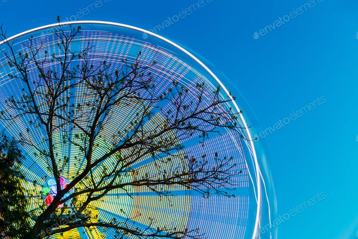 Tree Branches Against Backdrop Of Bright Spinning Ferris Wheel A