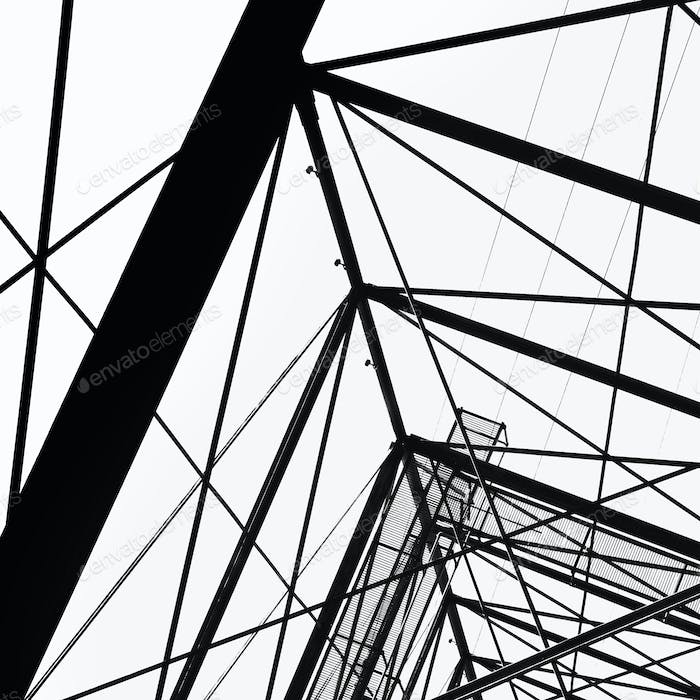 An electricity pylon tower in Seattle, view from the bottom.