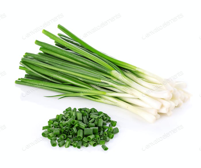 Green onion close-up isolated on a white background. Food concept.
