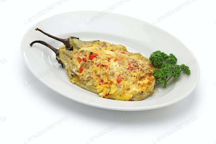 Tortang Talong, Auberginen Omelett, philippinisches Essen
