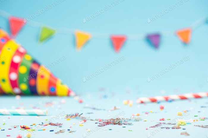 Colorful Birthday or Party Invitatniom Card Mockup. Copy Space T