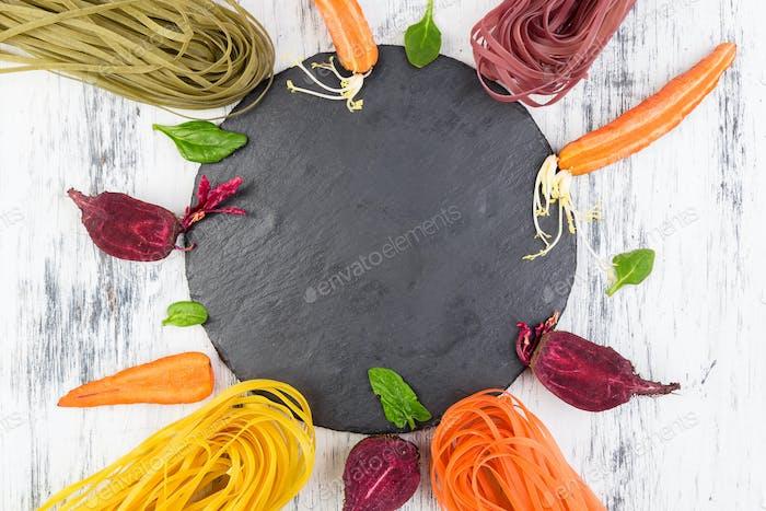 Colored Raw Vegetable Vegetarian Pasta.