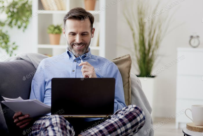 Man happy to work at home