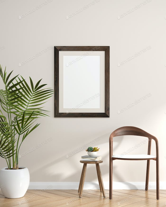 Picture frames with plant pots adorn the living room.