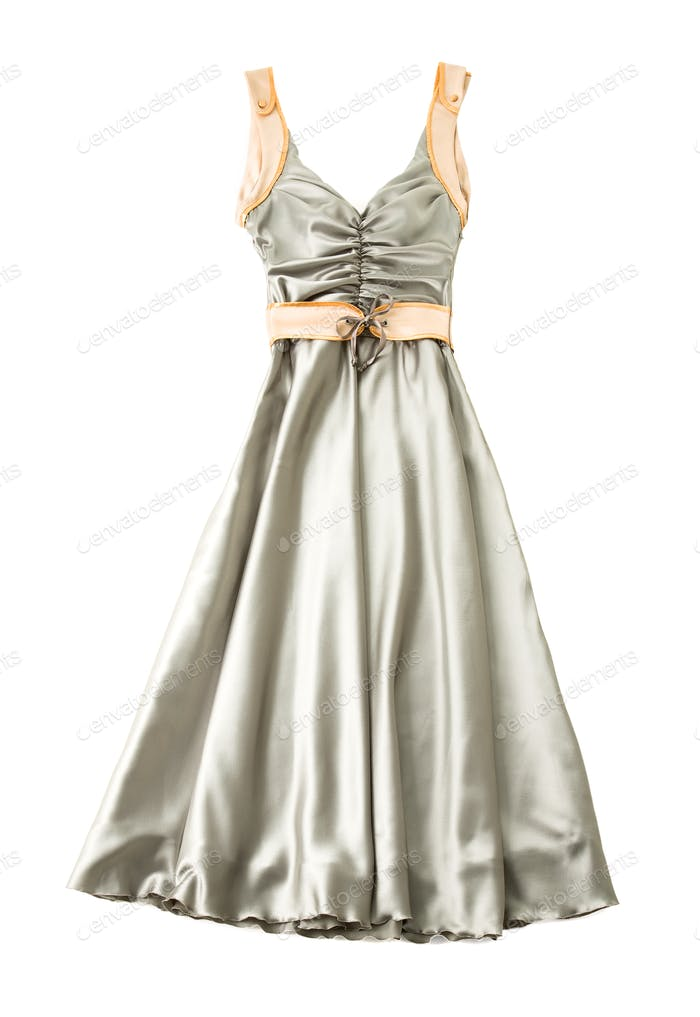 Satin ruched sweetheart bodice belted dress
