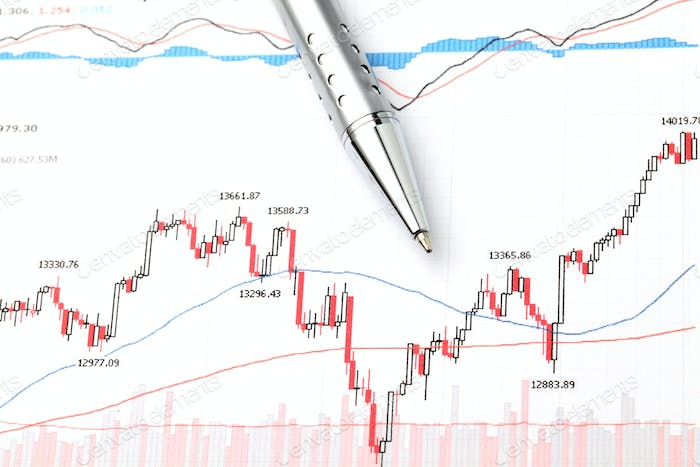 Stock market graph and pen