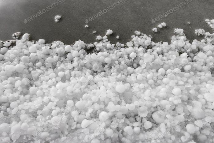 Hailstones after hailstorm