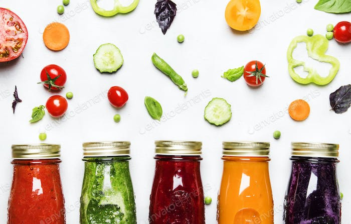 Colorful vegan vegetable juices and smoothies