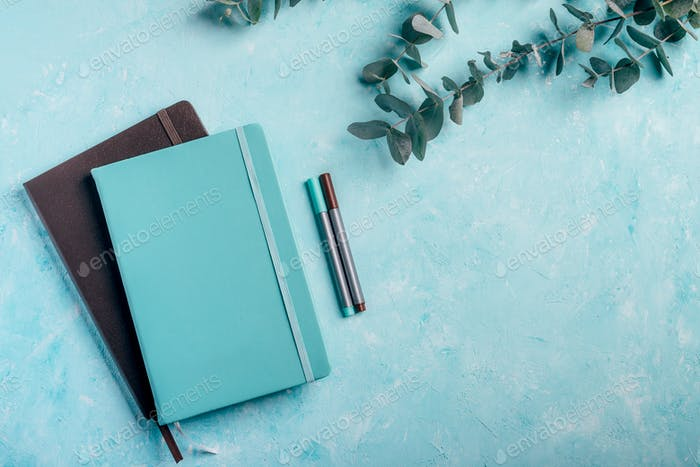 Blue and brown notebooks, fineliner markers with green eucalyptus plants