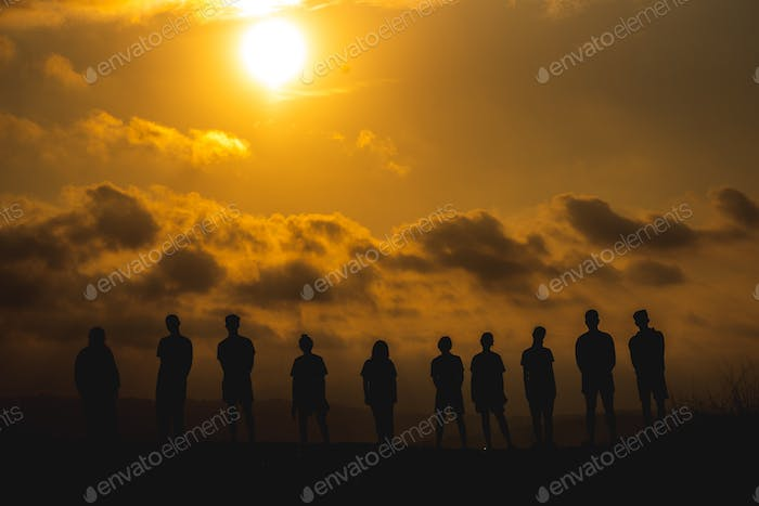 The silhouette of a business network group of business people shaking hands to express