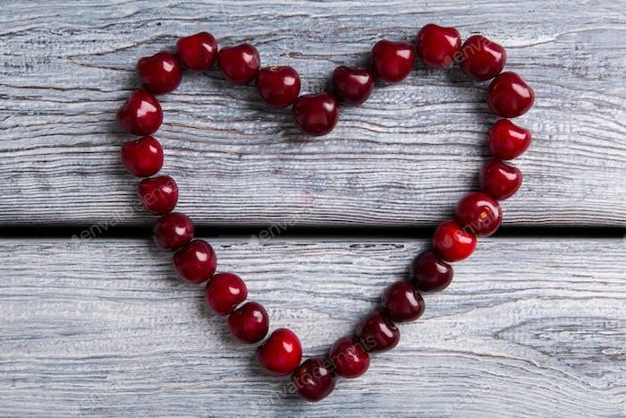 Heart made of cherries