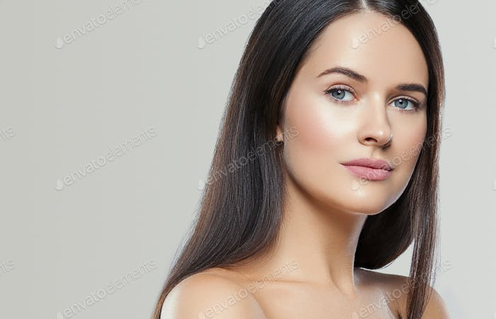 Beauty face woman young beautiful girl Gorgeous female portrait brown hair. Young adult girl