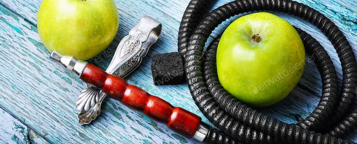 Stylish asian shisha with green apple