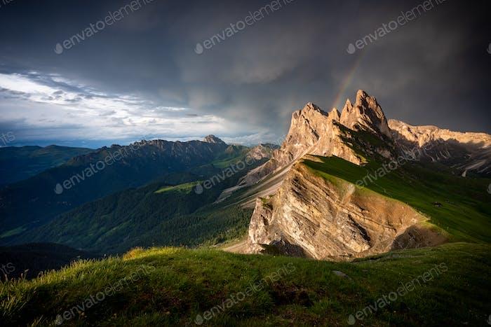 Seceda mountain peaks with rainbow,Suoth Tyrol, Dolomites, Italy,Europe
