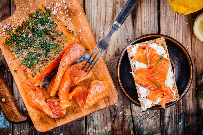 Toast with smoked salmon