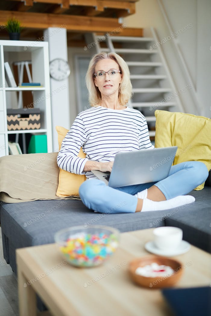 Mature Woman Writing Blog